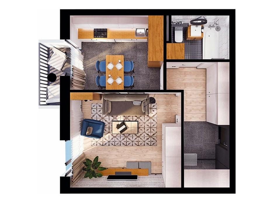 Планировка свободная планировка квартиры в ЖК Scandia 45.74 м², фото 308987