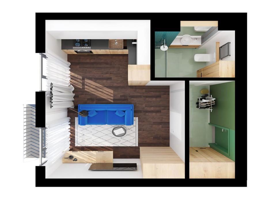 Планировка 1-комнатной квартиры в ЖК Scandia 33.2 м², фото 309211