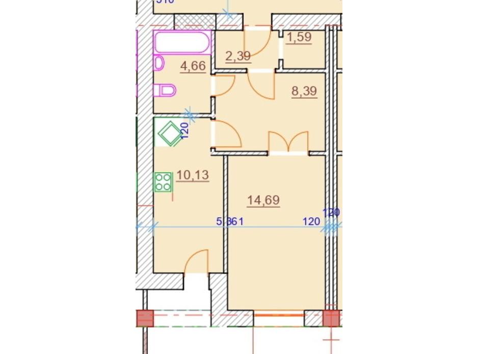 Планировка 1-комнатной квартиры в ЖК Парк Стоун 41.85 м², фото 309306