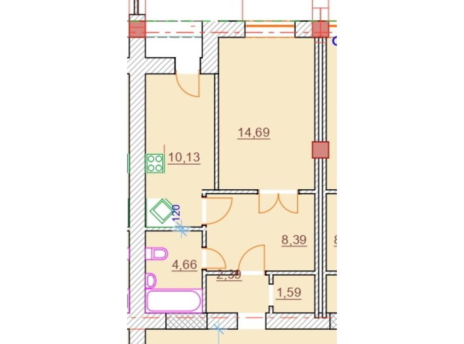 Планировка 1-комнатной квартиры в ЖК Парк Стоун 41.85 м², фото 309307
