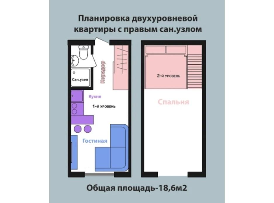 Планировка многоуровневой квартиры в ЖК Воробьевы горы Pro 19 м², фото 310374