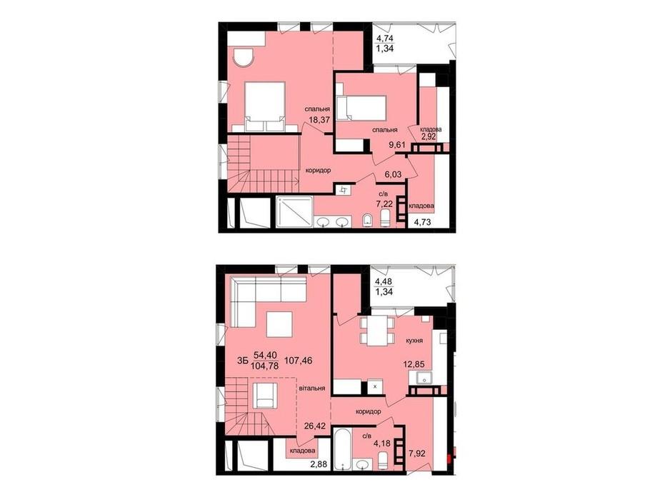Планировка многоуровневой квартиры в ЖК Киев 107.46 м², фото 313630
