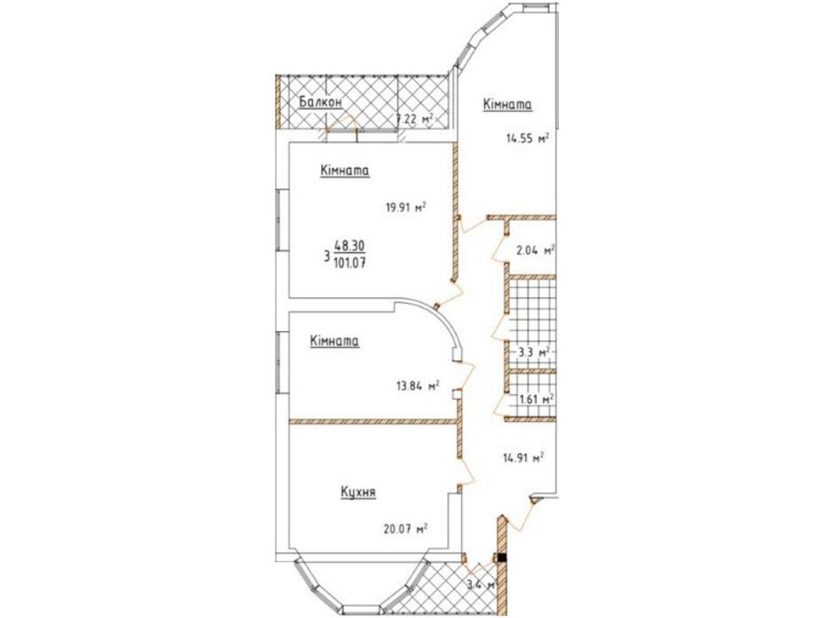 Планировка 3-комнатной квартиры в ЖК Коттедж на Орлика 100 м², фото 314651