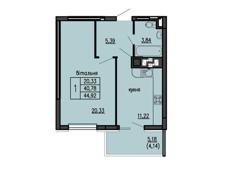 Планировка 1-комнатной квартиры в ЖК Бандери-Нова 44.92 м², фото 315545