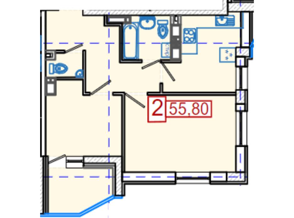 Планировка 2-комнатной квартиры в ЖК Немецкий проект на Холодной Горе 55.8 м², фото 316608