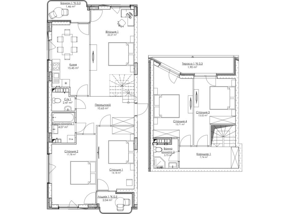 Планировка многоуровневой квартиры в ЖК O2 Residence 132.95 м², фото 316771