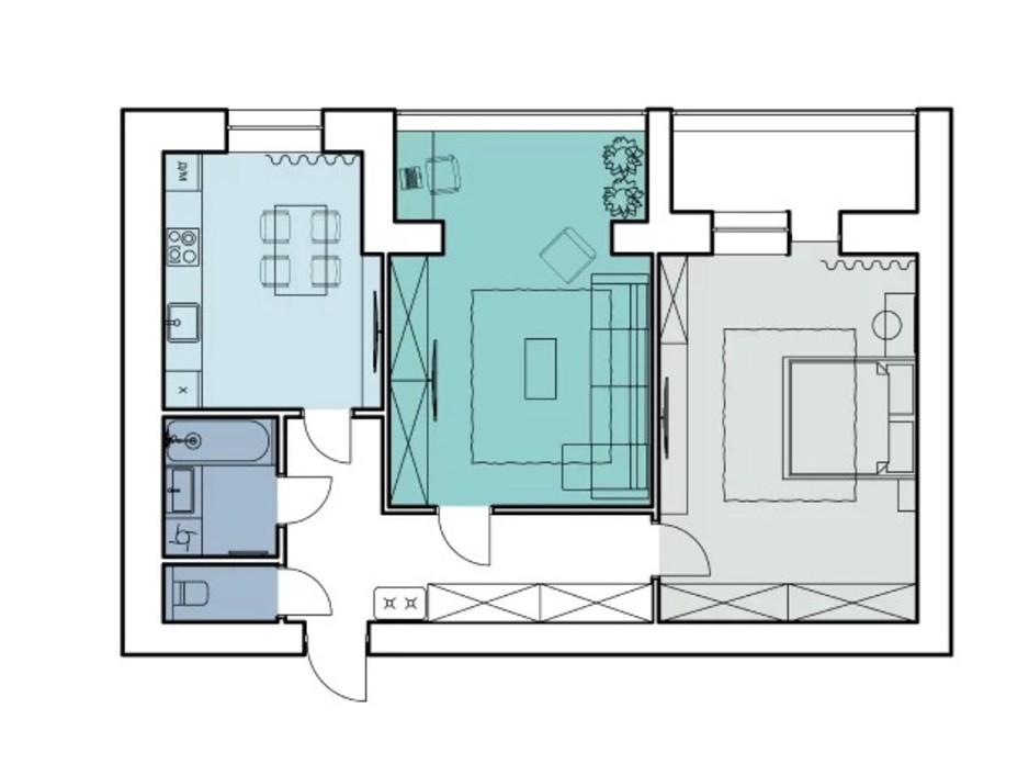 Планировка 2-комнатной квартиры в ЖК Comfort House 79.8 м², фото 317343
