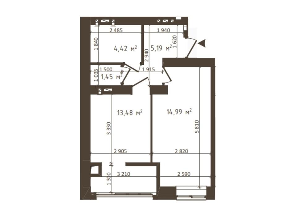 Планировка 1-комнатной квартиры в ЖК Одесская Чайка 39.53 м², фото 318526