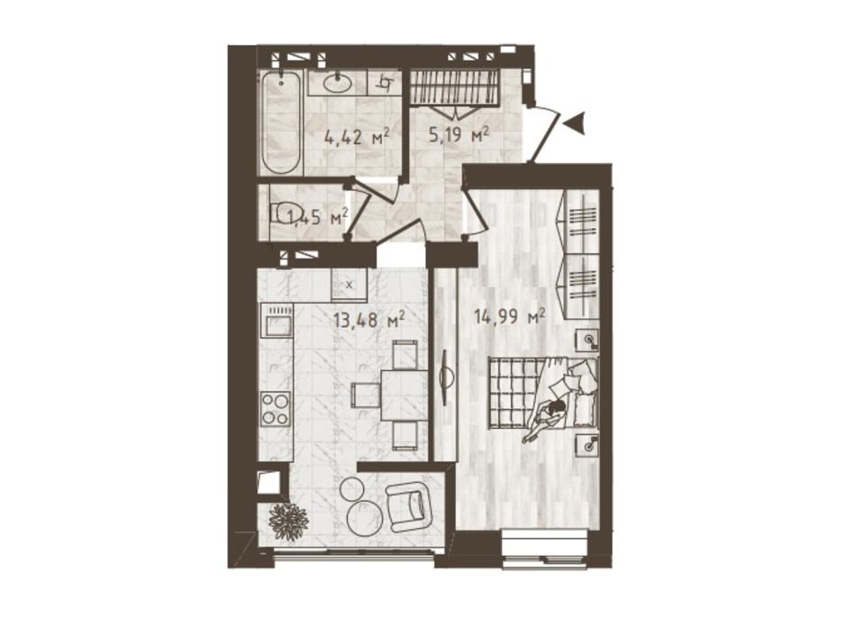 Планировка 1-комнатной квартиры в ЖК Одесская Чайка 39.53 м², фото 318535