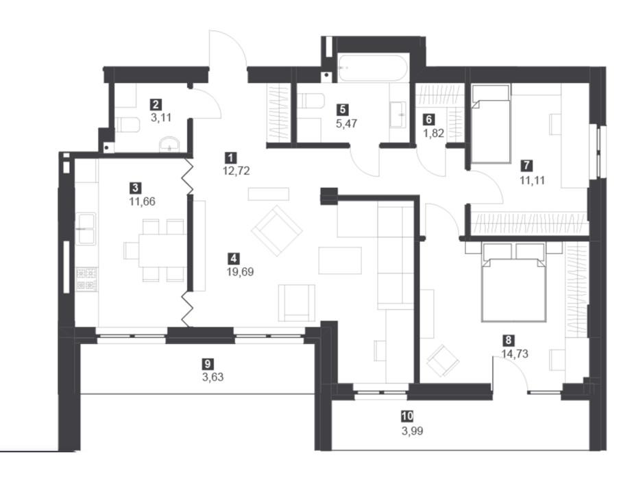Панорамний будинок з терасами планування 28