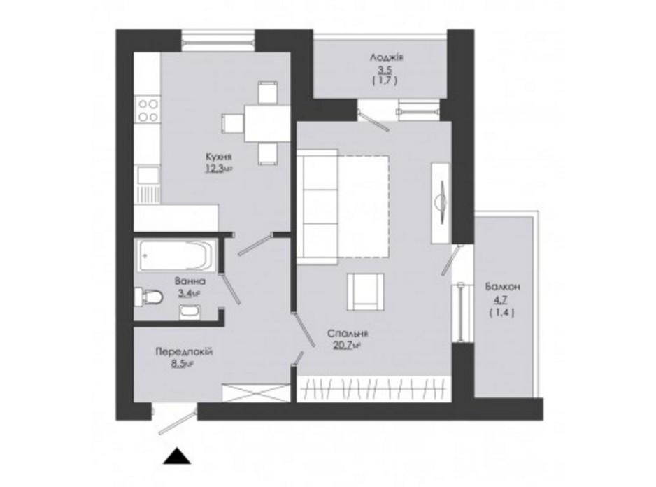 Планування 1-кімнатної квартири в ЖК Сонячний край 48 м², фото 38221