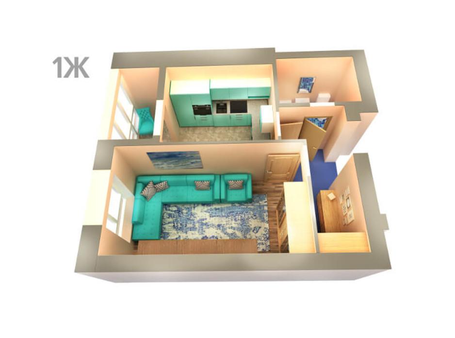 Планировка 1-комнатной квартиры в ЖК Life 36.21 м², фото 43287
