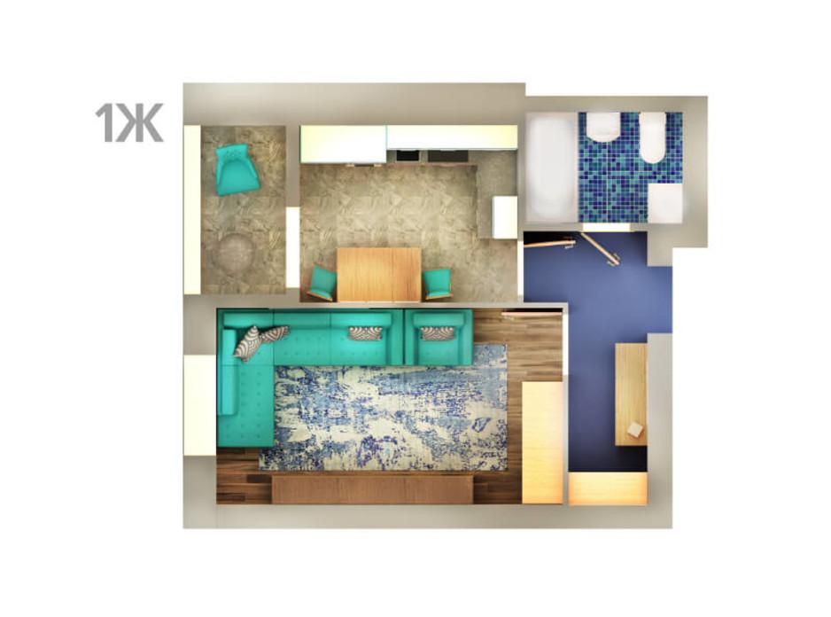 Планировка 1-комнатной квартиры в ЖК Life 36.21 м², фото 43288