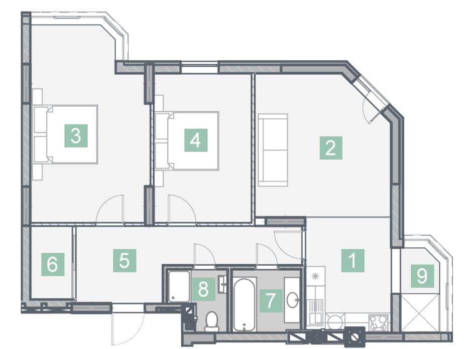ЖК Клубный дом планировка 13