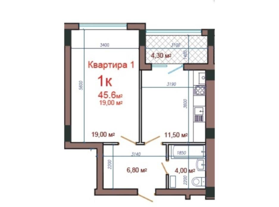 Планування 1-кімнатної квартири в ЖК Потьомкінський 45.6 м², фото 47065
