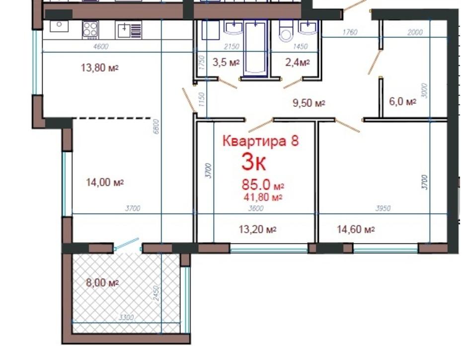 Планування 3-кімнатної квартири в ЖК Потьомкінський 85 м², фото 47074