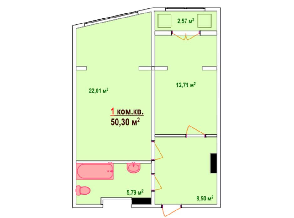 Планировка 1-комнатной квартиры в ЖК Казак Сити 50.3 м², фото 47462