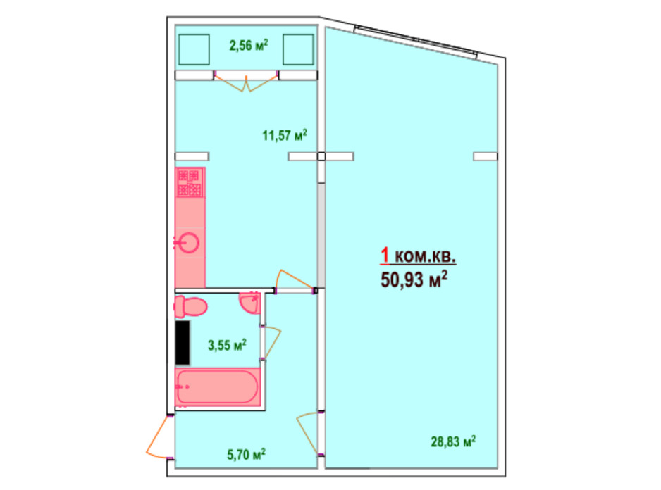 Планировка 1-комнатной квартиры в ЖК Казак Сити 50.93 м², фото 47463