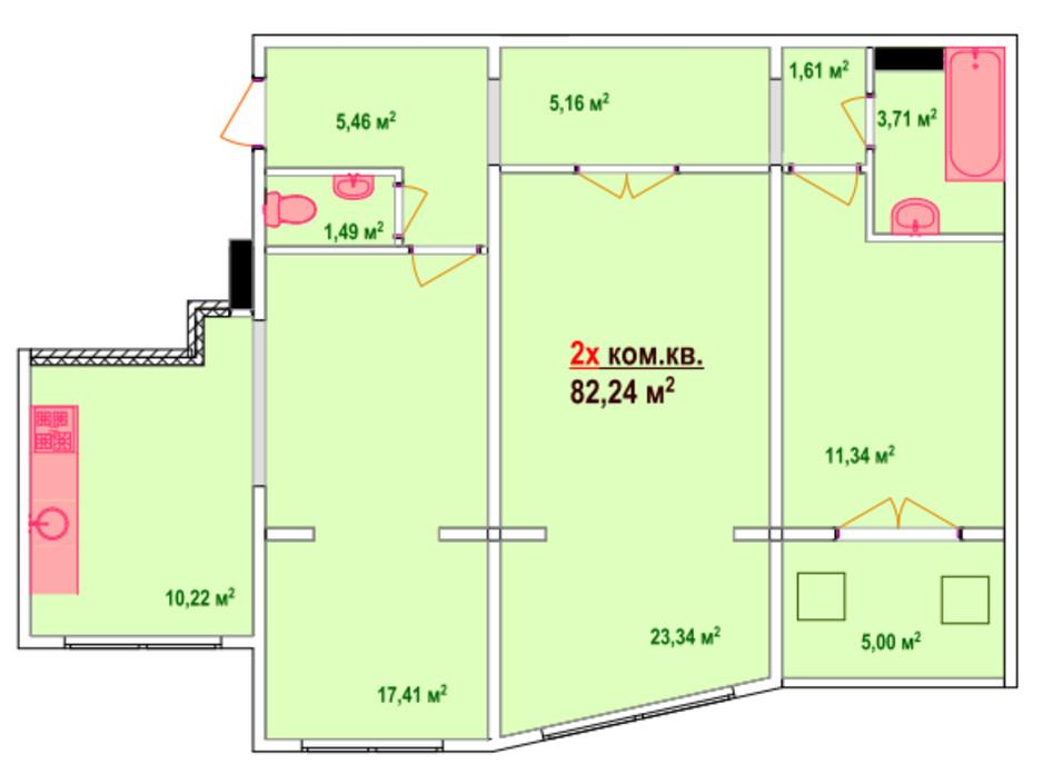 Планування 2-кімнатної квартири в ЖК Козак Сіті 82.24 м², фото 47465