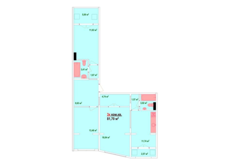 Планировка 3-комнатной квартиры в ЖК Казак Сити 81.7 м², фото 47466