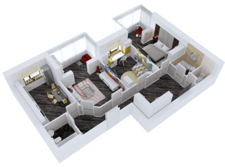 Планировка 3-комнатной квартиры в ЖК Резиденция 96.26 м², фото 47519