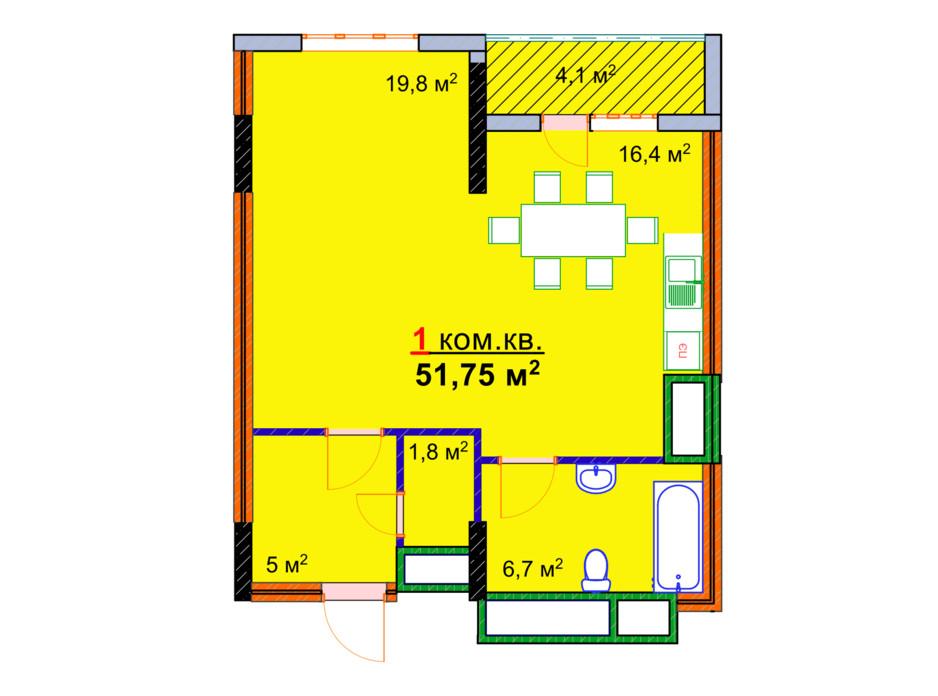 Планировка 1-комнатной квартиры в ЖК Монолит 51.75 м², фото 47699