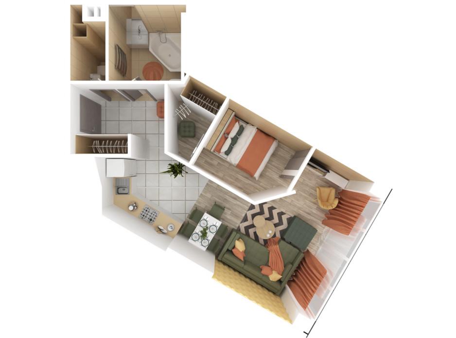 Планування 1-кімнатної квартири в ЖК Bartolomeo Resort Town 48.5 м², фото 51031