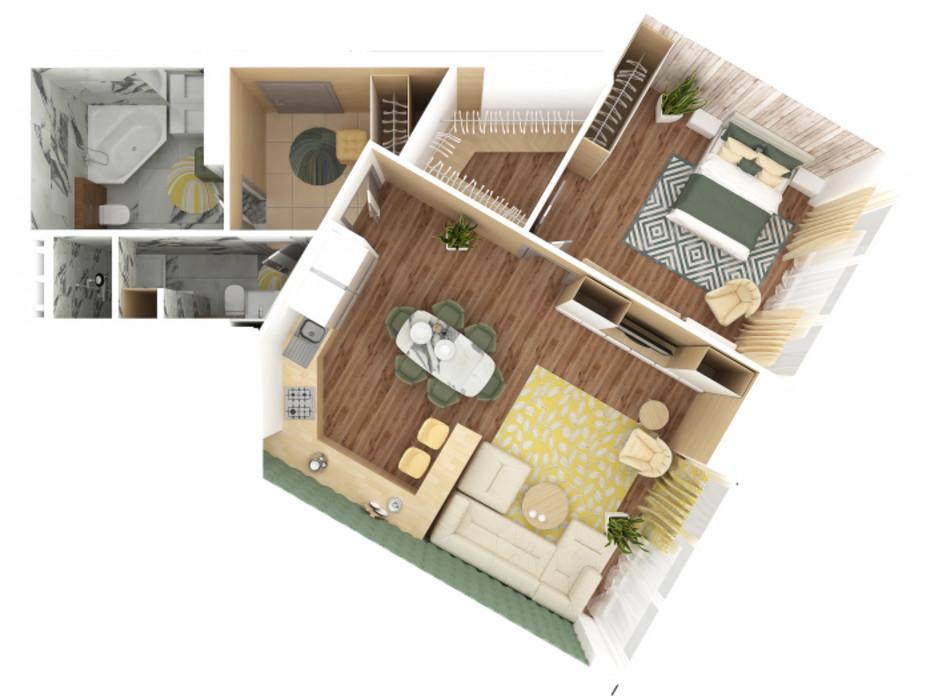Планування 2-кімнатної квартири в ЖК Bartolomeo Resort Town 78.13 м², фото 51032
