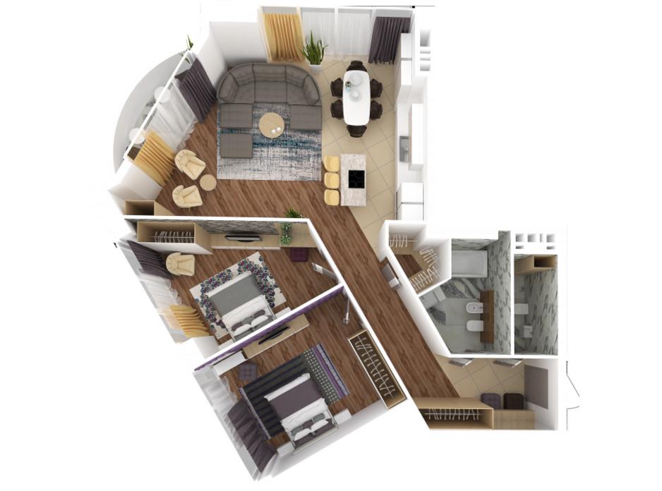 Планировка 3-комнатной квартиры в ЖК Bartolomeo Resort Town 110.03 м², фото 51034