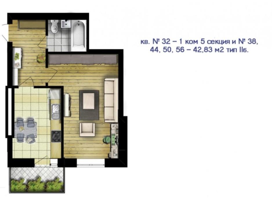 Планировка 1-комнатной квартиры в ЖК Новый массив 42.83 м², фото 53194