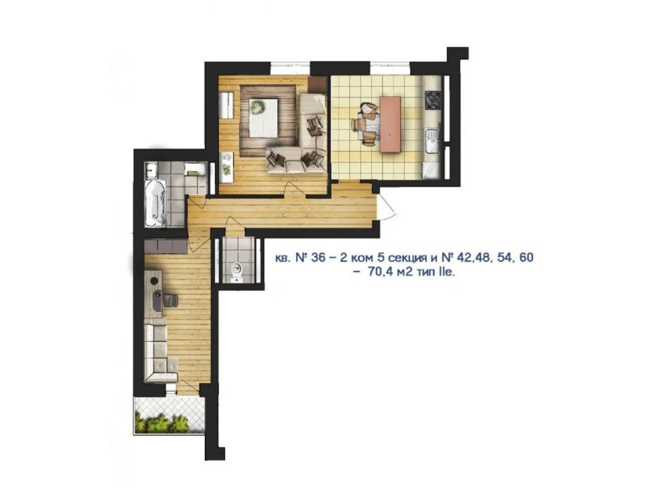 Планировка 2-комнатной квартиры в ЖК Новый массив 70.4 м², фото 53196