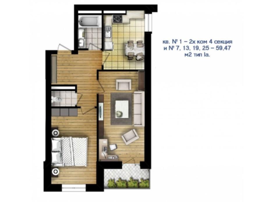 Планировка 2-комнатной квартиры в ЖК Новый массив 59.47 м², фото 53200