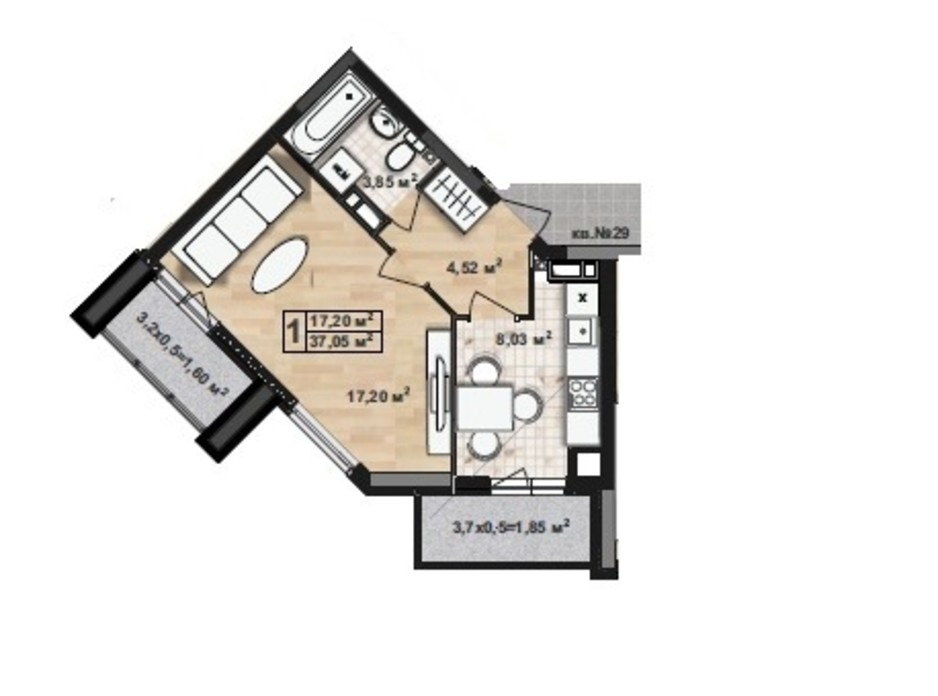 ЖК Green House планування 12
