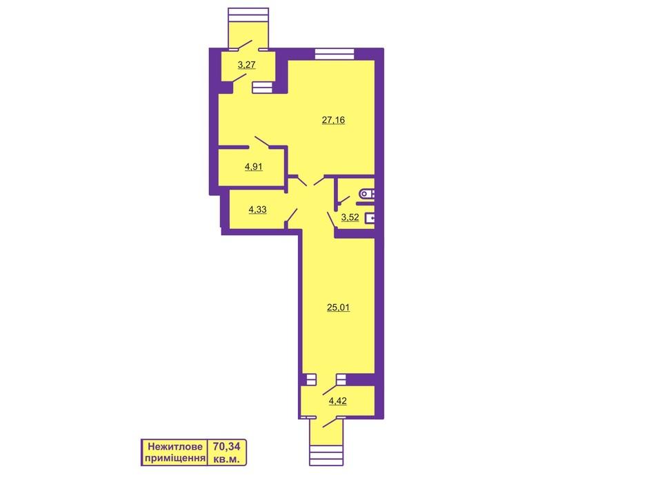 Планировка помещения в ЖК Шевченковский гай 70.34 м², фото 55699