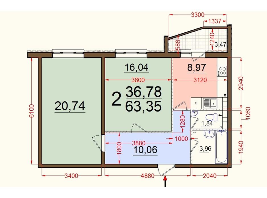 Планировка 2-комнатной квартиры в ЖК Северный 63 м², фото 56894