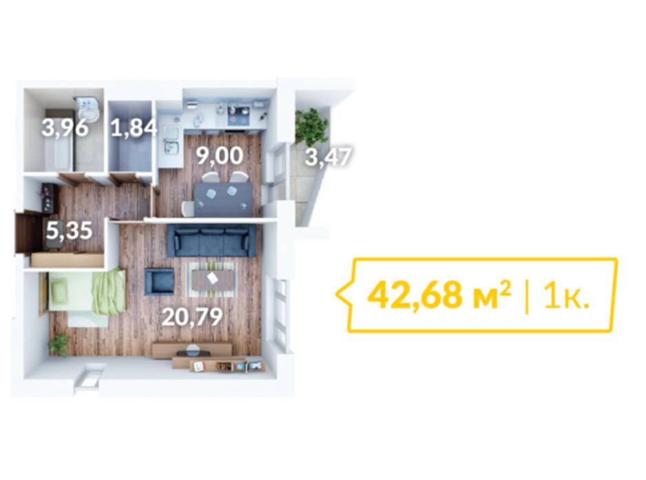 Планировка 1-комнатной квартиры в ЖК Северный 43 м², фото 56895