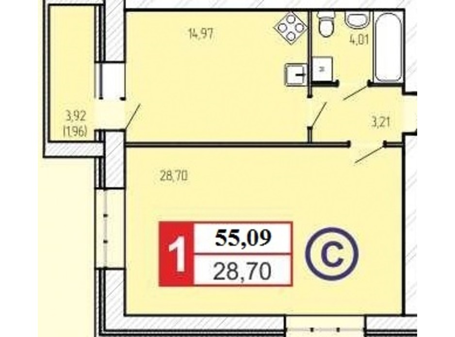 Планировка 1-комнатной квартиры в ЖК «777» 55.09 м², фото 60910