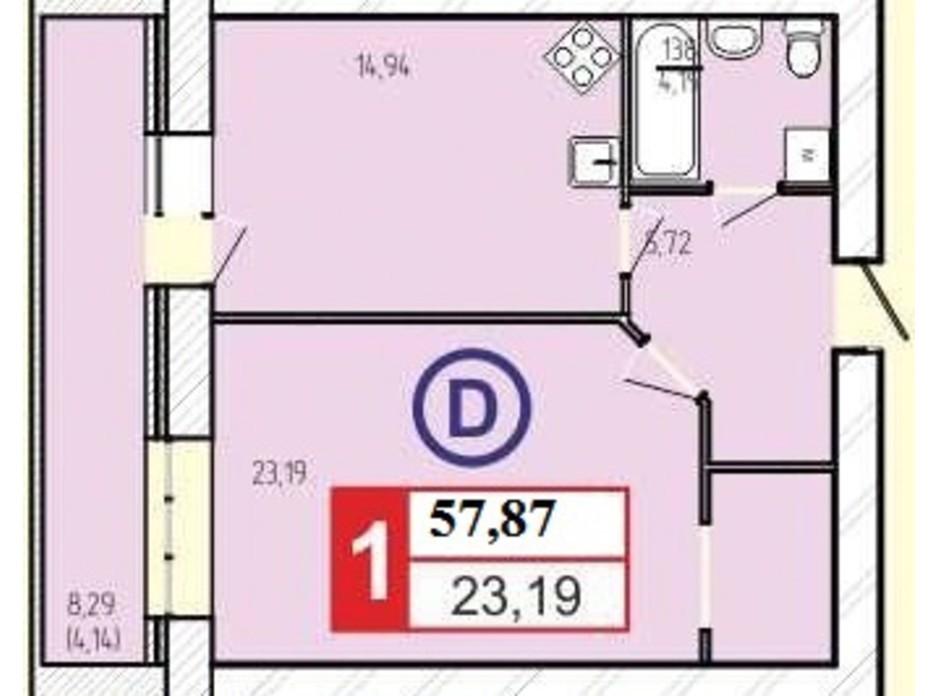 Планировка 1-комнатной квартиры в ЖК «777» 57.87 м², фото 60912