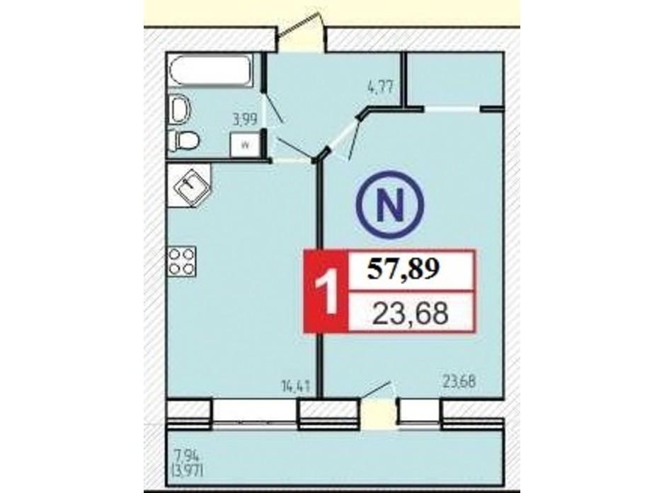 Планировка 1-комнатной квартиры в ЖК «777» 57.89 м², фото 60931