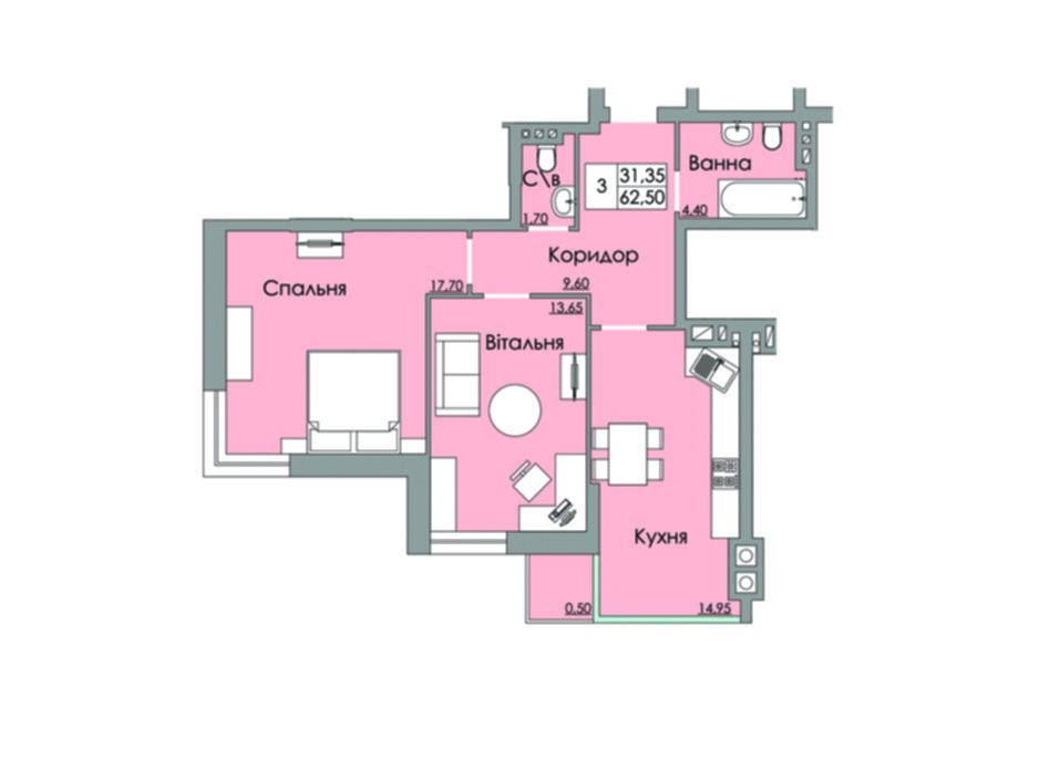 Планировка 2-комнатной квартиры в ЖК Панда 62.5 м², фото 65521