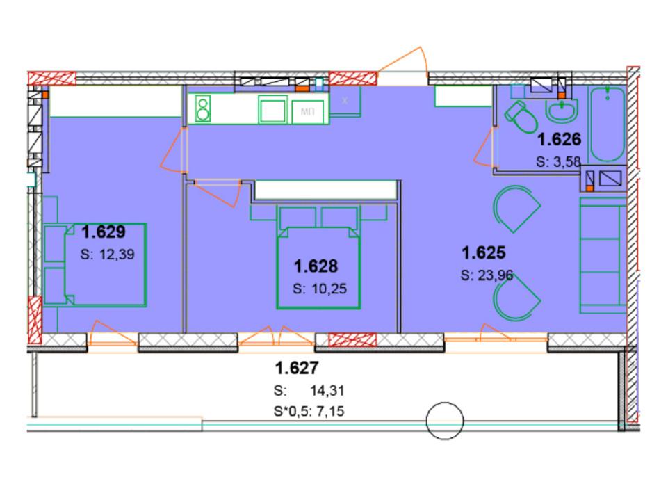 Планування 2-кімнатної квартири в ЖК Сонячний квартал 64.49 м², фото 66778