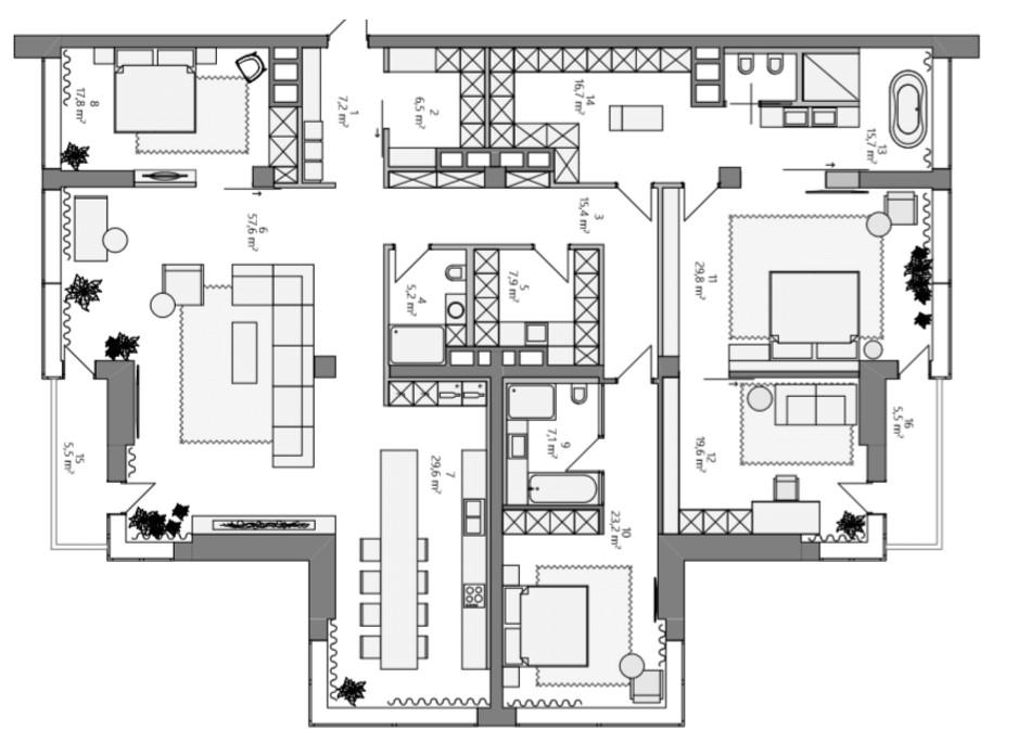 ЖК Skyline Residences планировка 52