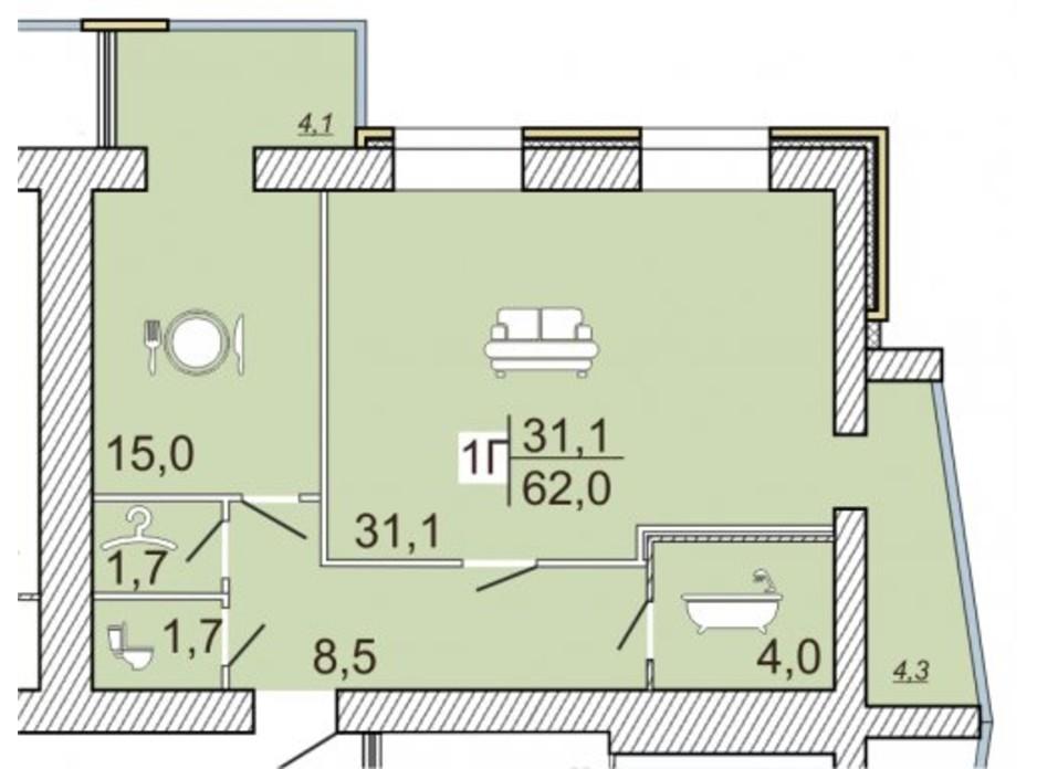 ЖК Семейный Lux планировка 42