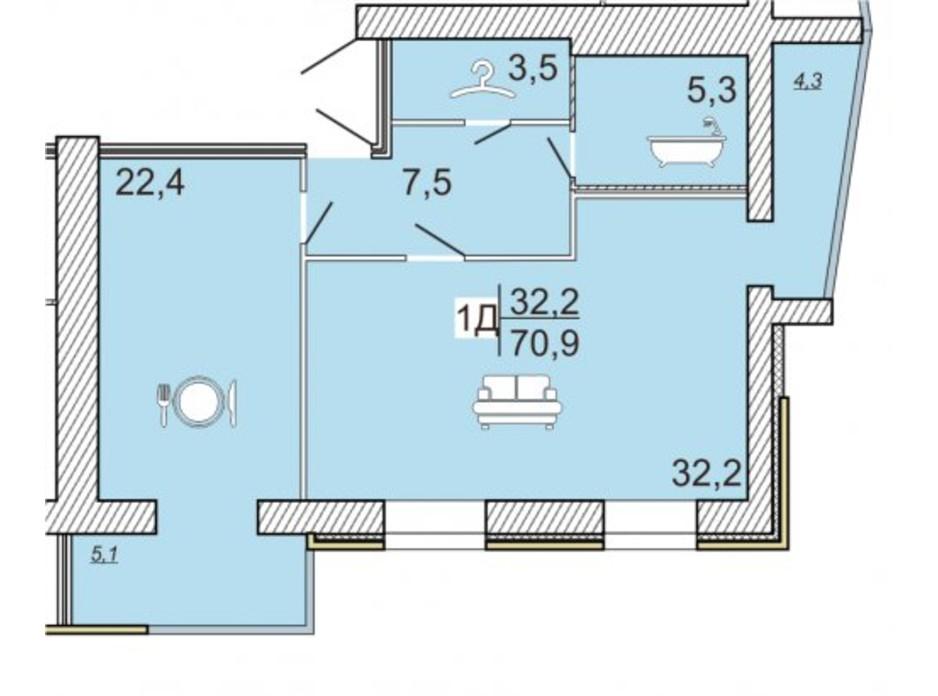 ЖК Семейный Lux планировка 44