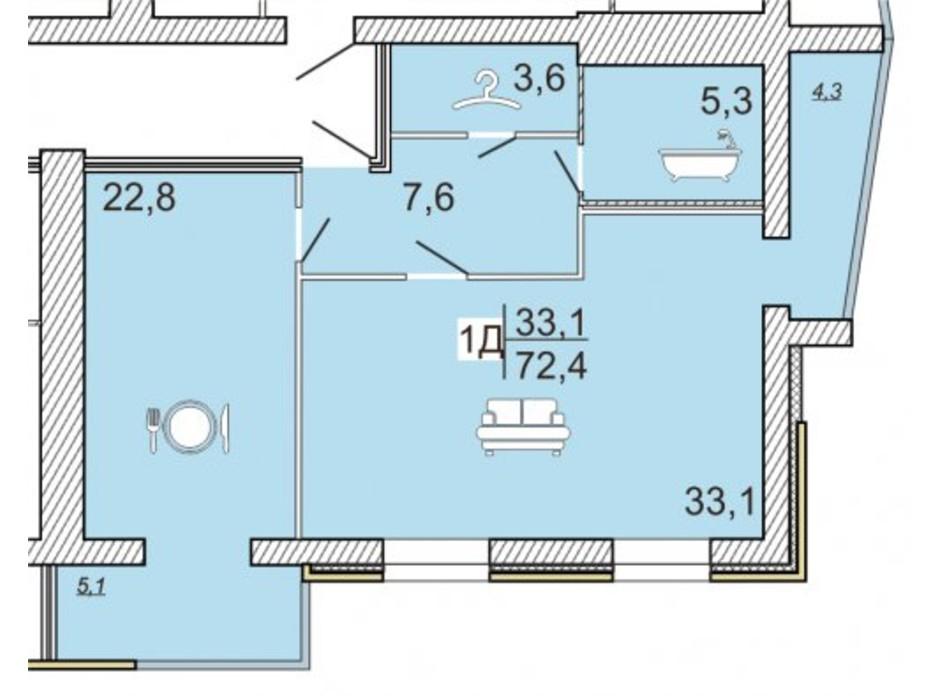 ЖК Семейный Lux планировка 45