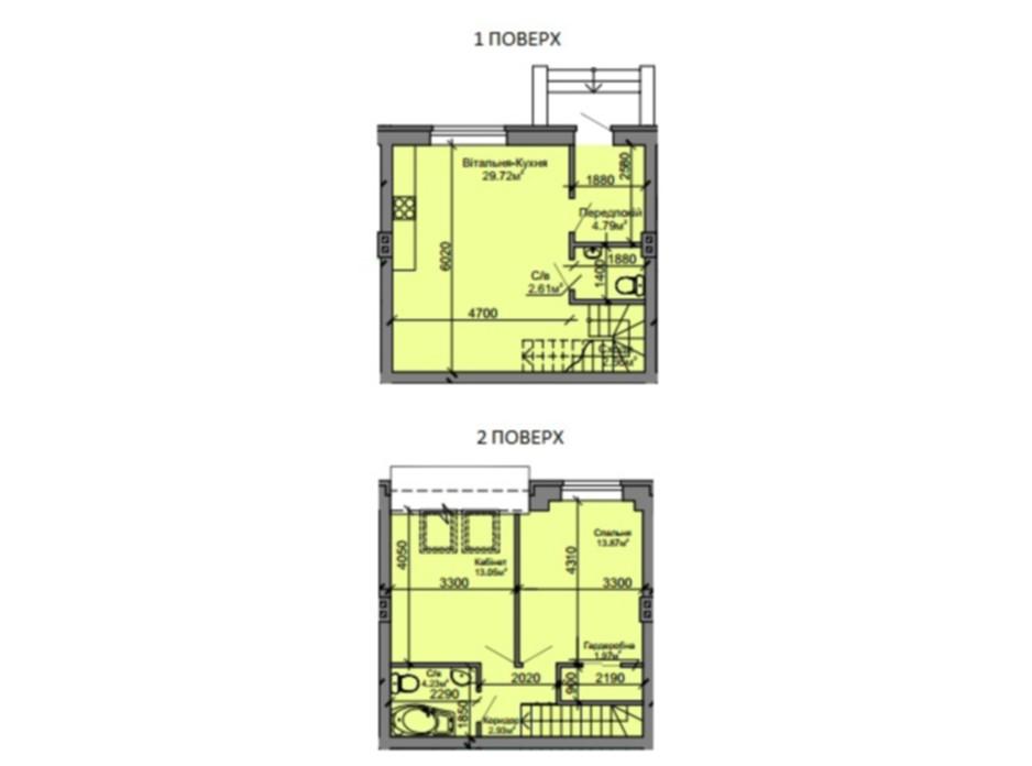 Планировка 3-комнатной квартиры в Таунхаус Вишневый 75 м², фото 69930