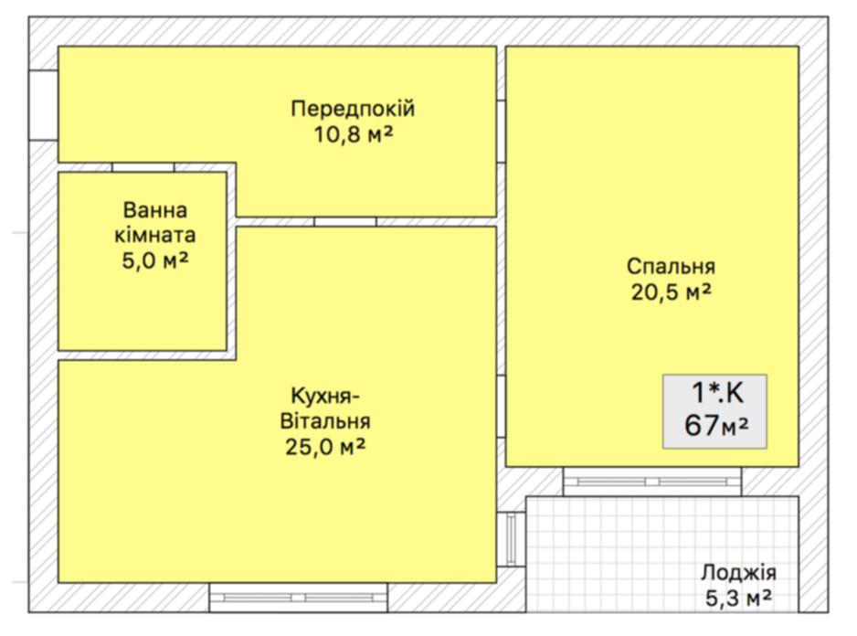 Планировка 2-комнатной квартиры в Таунхаус На Трамвайной 67 м², фото 71733