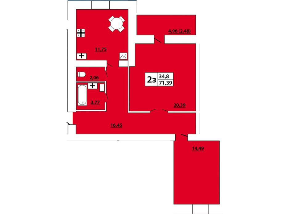 ЖСК «Озерный-3» планировка 9