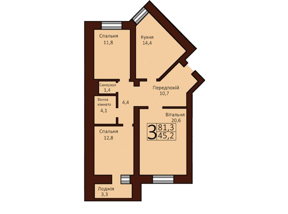 Планування 3-кімнатної квартири в ЖК Borispol Grand 81.8 м², фото 73779