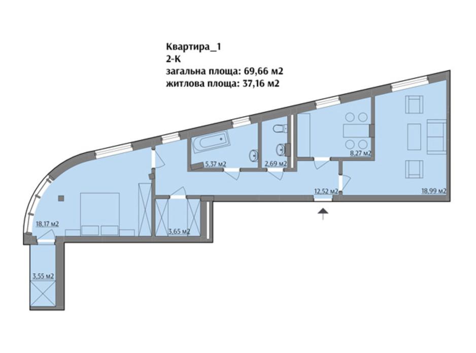 Планировка 2-комнатной квартиры в ЖК ул. Варшавская 71.09 м², фото 75507
